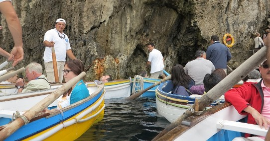 Blue Grotto rowboats at entrance 542