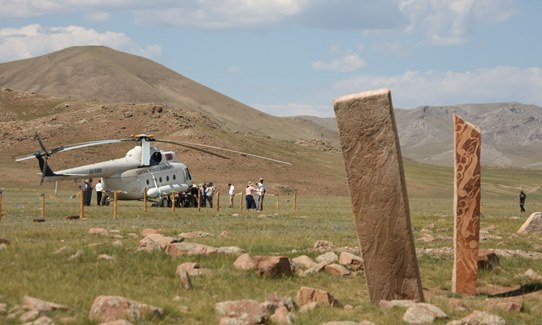 bronze age deer stone site, Uushigiin Uver, chartered Central Mongolia Airways helicopter.