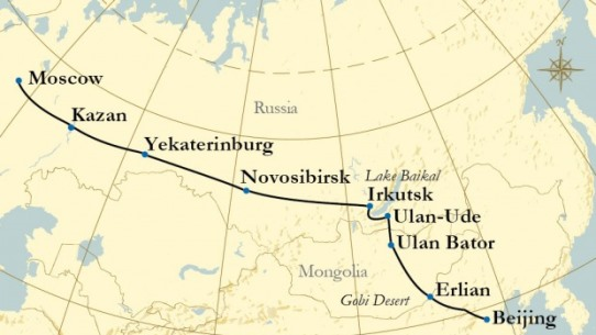 Trans-Mongolian train route 542