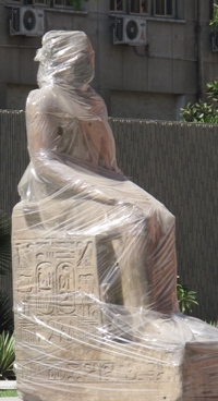 Wrapped statue