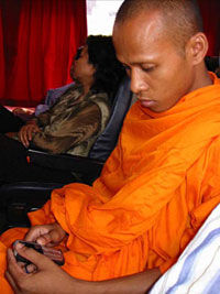 Monk sending text message