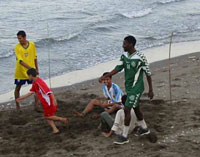 football on the beach at Sohar