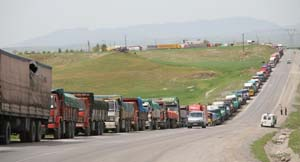 line of trucks at the border