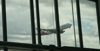 Qantas 747 takes off at Heathrow